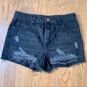 Size 27 High-waisted Distressed Jean Shorts